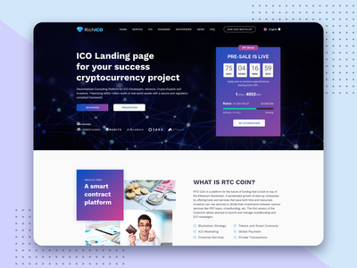 RichICO - Landing page for Cryptocurrency ico agency crypto cryptocurrency uidesign uxui uxdesign
