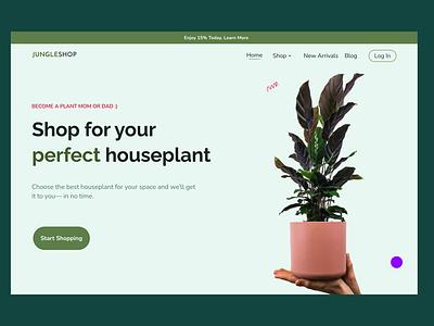 Plant shop Hero Page graphic design branding ui