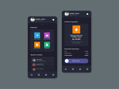 E-Money Dark Mode Exploration UI android app dark theme dark mode dark ui minimal flat figma design figma design ux ui app