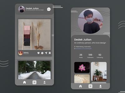 Social Media Mobile App Dark Mode UI figmadesign flat minimal android app dark app dark theme dark mode dark ui design figma design figma ui