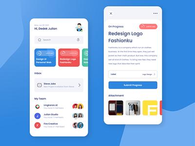 Project Management Mobile App UI typography design minimal android app flat figma figma design app ux ui