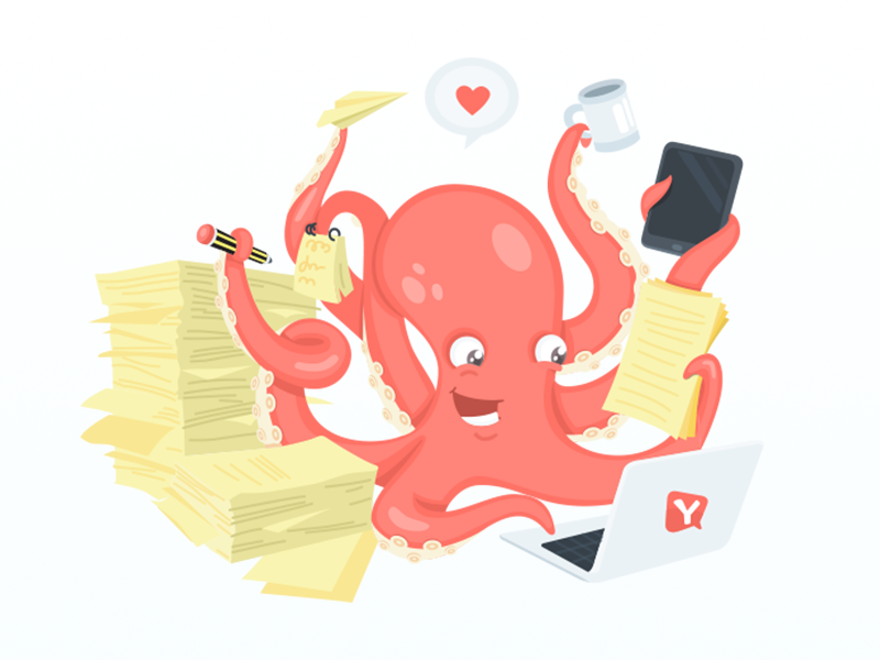 Octopus Working By Flatstudio Dribbble