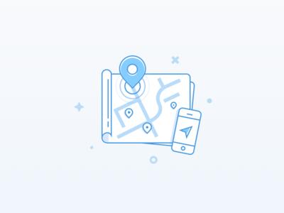 Map illustration ux ui flat maps google maps mobile adaptive index russian pin illustration map
