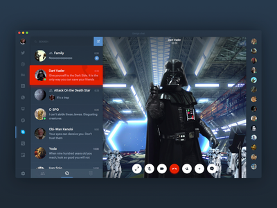 Dark Side calling creators app ios application message dialog chat msg companies ui ux riends