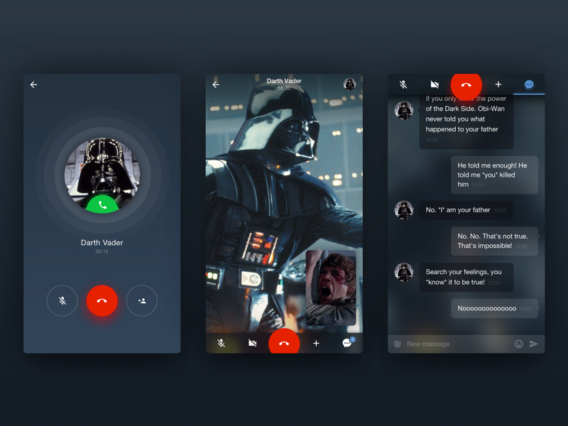 Dark side calling for iPhone riends ux ui companies msg chat dialog message application ios app creators