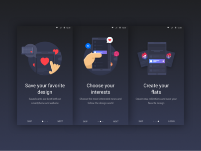 Onboarding screens for Flatun