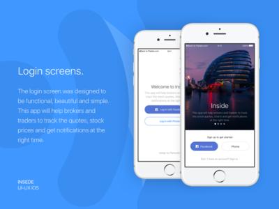 Inside app - Login screens