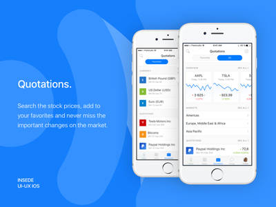 Inside app - Quotations screens market companies traders financial birja stock broker inside quotations