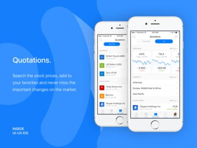 Inside app - Quotations screens