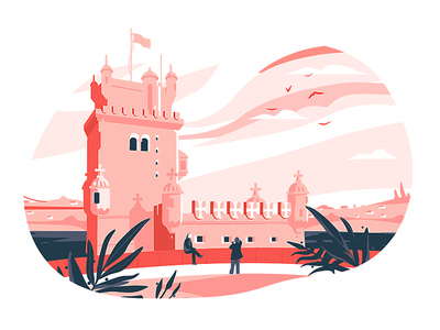 Cities: Torre de Belém torre de belém lisbon lisboa cities illustrations flatstudio