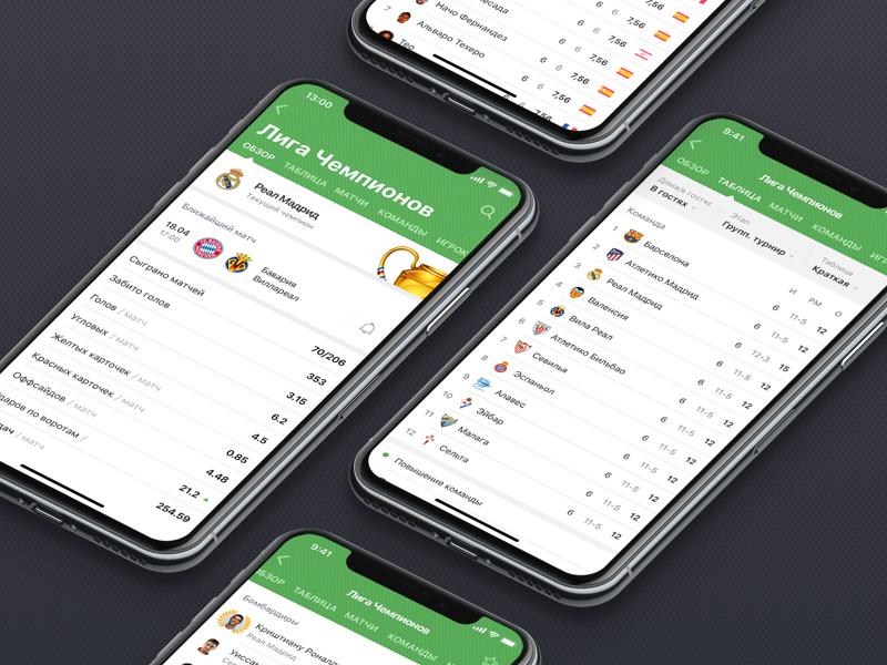 Scores24 iOS App: League screens by Flatstudio on Dribbble