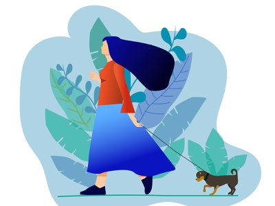 Walking the dog girl illustration dog illustration walking flat illustration flat design vector illustration
