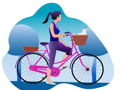 bicyle girl illustration driving vector illustration flat illustration flat design