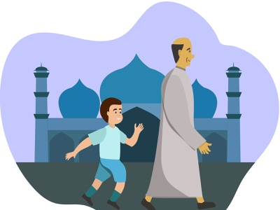 boy with grandfather going to the mosque boy father pray muslims mosque illustration walking flat design vector flat illustration ramadan mubarak