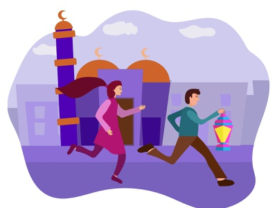 Kids run and play  with Ramadan's  lantern kids lantern festival ramadan ramadan kareem vector flat illustration flat design