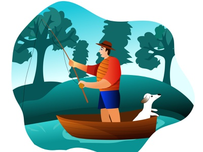 man fishing with his dog characterdesign dog illustration boat fishing fisherman vector illustration flat illustration flat design