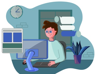 working from home flat design design glass graphic design working from home man office website design social network social media design computer vector illustration character characterdesign illustration flat illustration