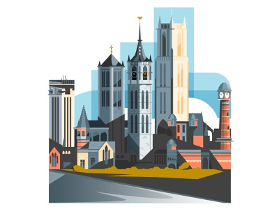 The towers of Ghent belgium ghent cityscape skyline architecture illustrator city minimalist illustration vector