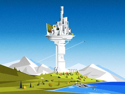 Acrology cityscape futurism skyline architecture illustrator city minimalist texture illustration vector