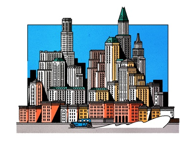 Ligne Claire en Amerique. cityscape design skyline architecture illustrator city minimalist texture illustration vector