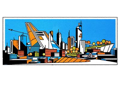 Bright Retro cityscape design architecture skyline city illustrator minimalist texture illustration vector