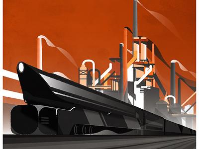 Train Deco art deco train poster design texture minimalist illustration vector