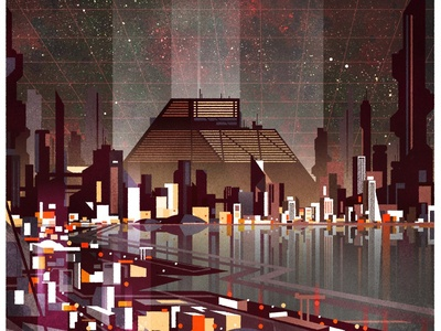 Don't mind the corporate overlord, enjoy the bay view. futurism design architecture skyline illustrator city minimalist texture illustration vector