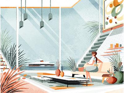 Mid century modern interior interior mid century modern design skyline illustrator illustration architecture vector