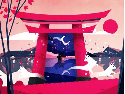 Torii! design flat shinto torii japan skyline illustrator minimalist texture illustration vector