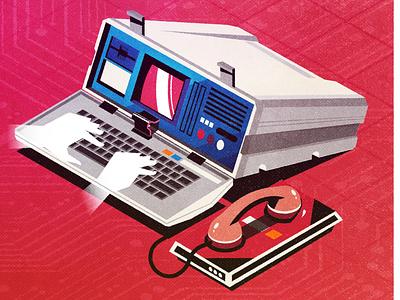 Retro Computers laptop pc computer retro futurism design minimalist texture illustration vector