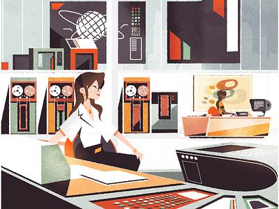 Mid Century Computer Room retro illustrator futurism fifties sixties googie interior editorial minimalist texture illustration vector