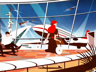 Retro Airport retro illustrator futurism architecture minimalist texture illustration vector