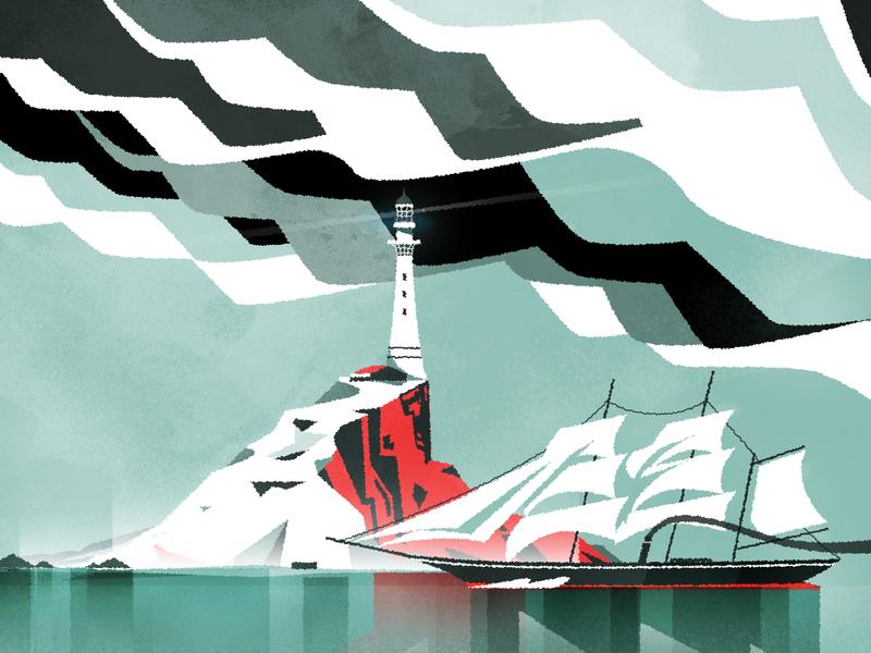 Lighthouse lighthouse retro skyline architecture illustrator minimalist texture illustration vector