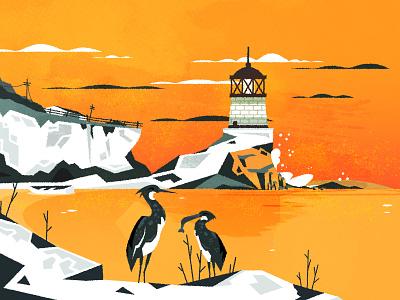 New England Lighthouse rough lighthouse minimalist illustrator texture illustration vector