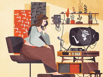 MCM webcam session editorial mid century modern illustration art vector retro