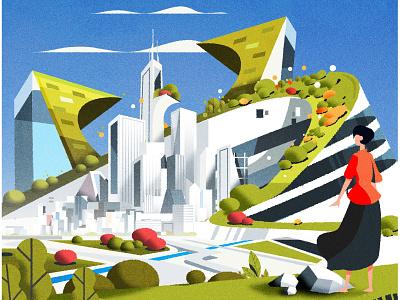 Hugged by green design skyline architecture city illustrator minimalist texture illustration vector