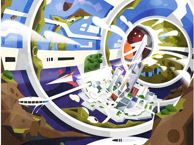 Space Station scifi skyline architecture city illustrator minimalist texture illustration vector