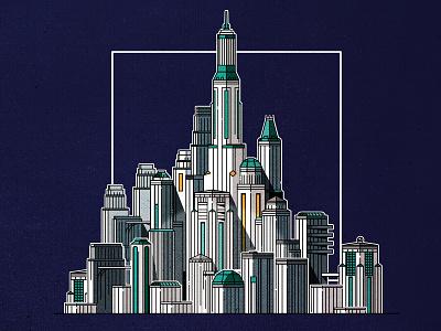 Ligne Claire art deco cityscape design skyline architecture city illustrator minimalist texture illustration vector