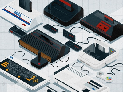 Old School console cool system master nintendo sega game gaming console illustrator minimalist texture illustration vector