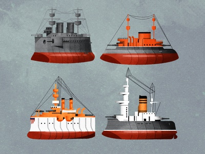 Pre-dreadnought cuties texture illustrator vector illustration design art minimalist cute chibi design ships boats