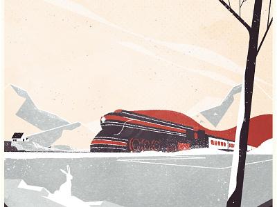 Winter Train vehicle train winter art deco design minimalist illustrator texture illustration vector
