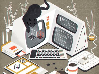 Retrofuturistic workstation (+ cat) cat workstation computer retro illustrator minimalist texture illustration vector