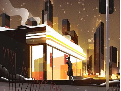 Nightly store run design cityscape skyline city illustrator minimalist texture illustration vector