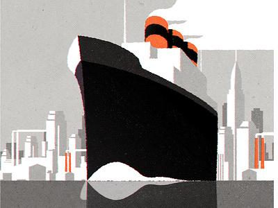 Art Deco Ocean Liner retro design skyline architecture city illustrator minimalist texture illustration vector