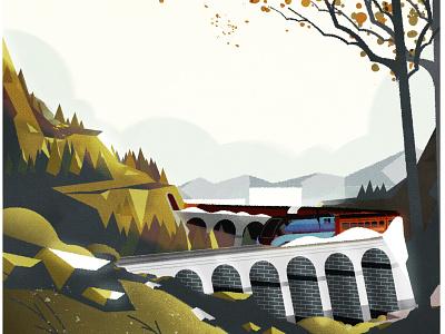 Steam Locomotive Mallard design flat vista landscape illustration illustrator landscape train vector