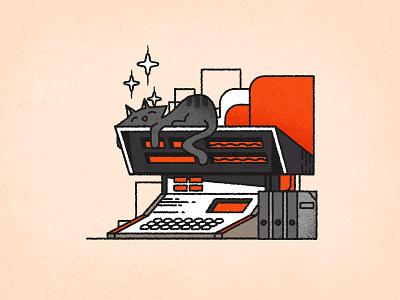 Kitties & Computers minimalist texture design art logo rough line illustrator retrofuturism retro cats vector