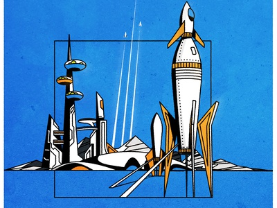 Rockets are fun! urban city science fiction futurism retro logo linework line landscape mountain space port vector rocket