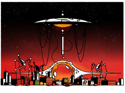 War of the Worlds! futurism cityscape design illustrator minimalist texture illustration vector editorial science fiction