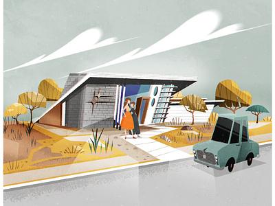 Mid Century Bungalow retro design architecture illustrator minimalist illustration vector