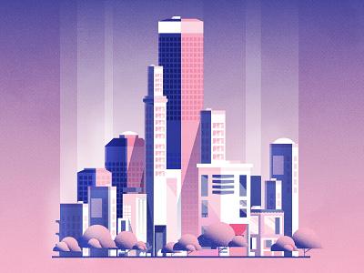 Sakura Season cityscape skyline design illustration city illustration vector illustrator architecture gradient texture minimalist city sakura